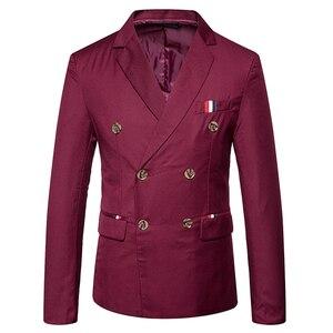 Image 4 - 新 2019 スリムカジュアルスーツのジャケットの男性のダブルブレスト秋冬ファッションパーティー無地フィットスーツコート男性 EU/us サイズ