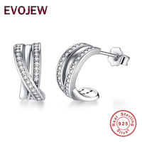 EVOJEW Elegant Cubic Zirconia Paved CZ Crystal Stud Earrings For Women Ear Cuff Brincos 925 Sterling