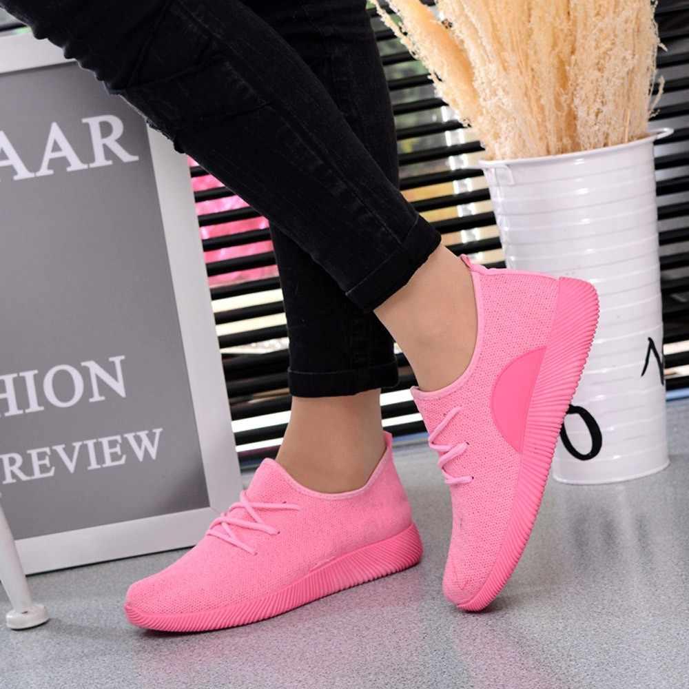 LZJ 2019 Chắc Chắn Thoáng Khí Dẹt Người Phụ Nữ Giày Súc Tích Kinh Điển Bay Dệt Màu Kẹo Sinh Viên Lưới Giày Chaussures Femme