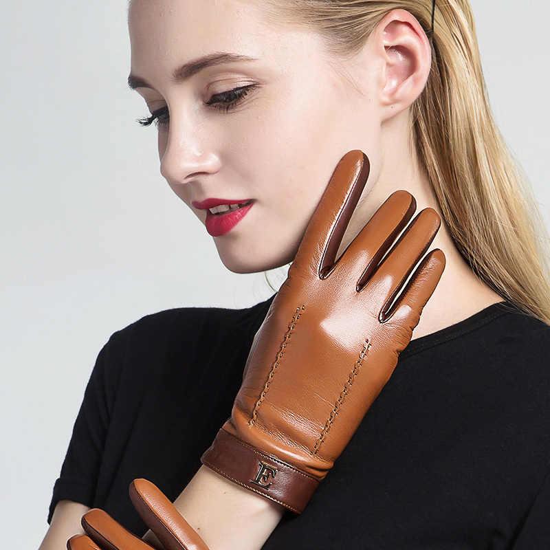 新 2019 本革の女性の女性のエレガントな 2 トーン羊皮手袋秋冬ウォームぬいぐるみ裏地 3326