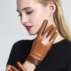Image 2 - Yeni 2020 hakiki deri kadın eldiven kadın zarif iki ton koyun derisi eldiven sonbahar kış sıcak peluş kaplı 3326