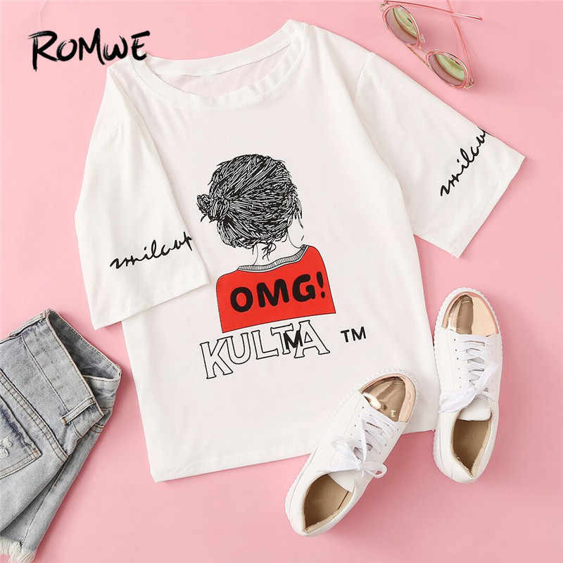 ROMWE Letter Print Tee  Women Round Neck Summer Graphic Tops Women White Fashion Short Sleeve Casual T-shirt