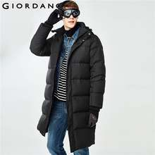 Giordano Men Down Jacket Men 90% Content Grey Duck Down Detachable Hood Long Down Jacket Men Thick Warm Windproof Ribbed Cuffs(China)