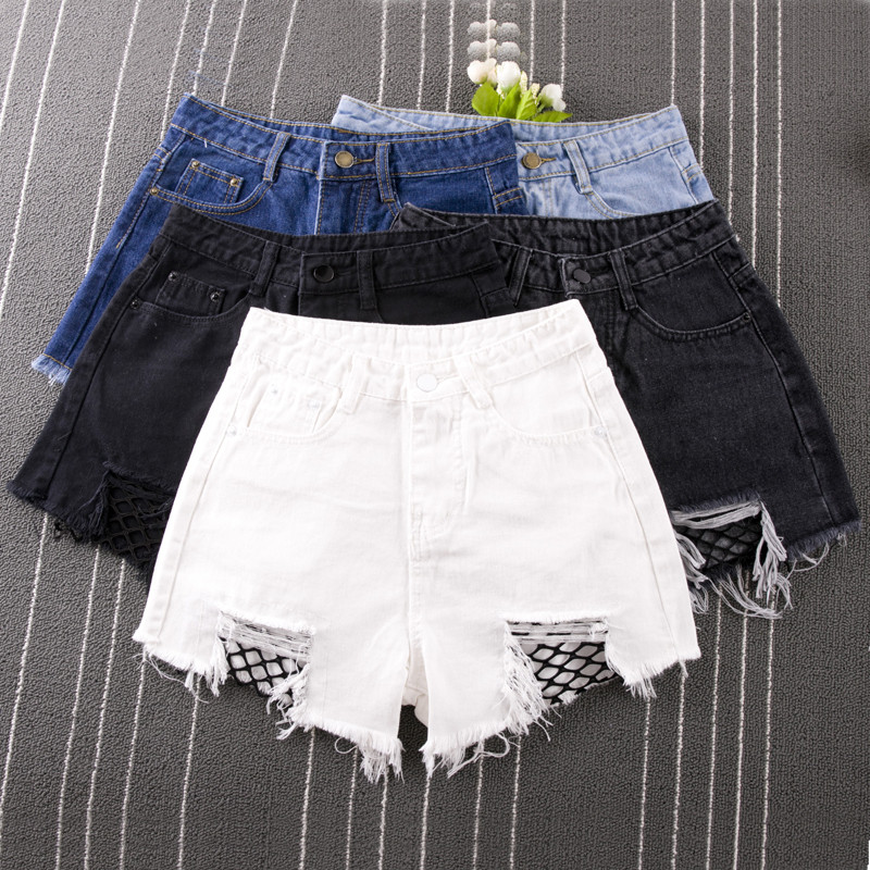 UNIONCODE Fishnet Mesh Denim Shorts Women High Waist Sexy Frayed Hem Summer Shorts 2017 Ripped Shorts Plus size S-3XL