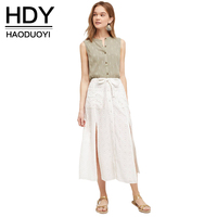 HDY Haoduoyi Solid White Women Mid Calf Skirts High Waist Split Front A line Skirts Women Summer Tie Waist Loose Casual Skirt
