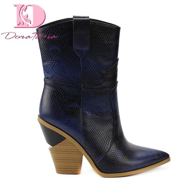 Doratasia 2019 marka Ins sıcak tarzı büyük boyutu 33-46 tıknaz topuklu kadın ayakkabısı moda orta buzağı boots kadın ayakkabı batı çizmeler
