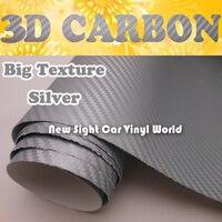 Большая текстура Серебряный 3d винил с рисунком под углеродное волокно стикер для автомобиля стикер s