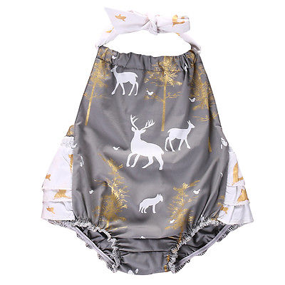 Cute Newborn Toddler Infant Baby Girl Deer Printing Romper Halterneck Cotton Jumpsuit Outfit Sunsuit Clothes iyeal newest 2018 princess newborn baby girl romper lace cotton long sleeve infant jumpsuit headband toddler outfits for 0 12m
