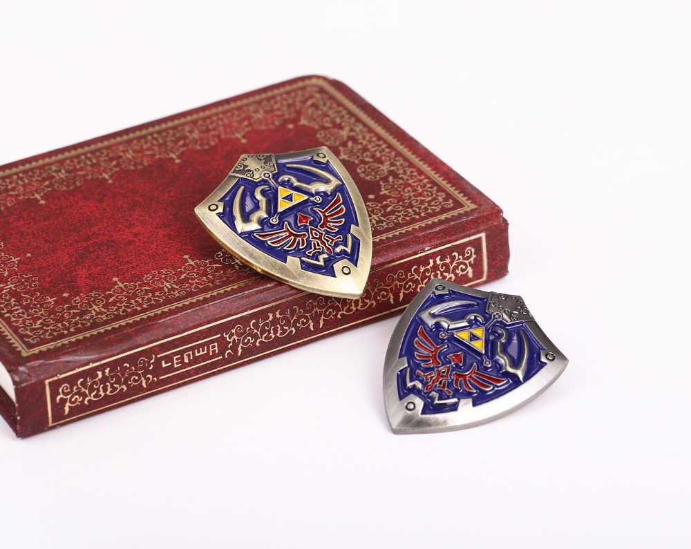 2 Warna Medali Logam The Legend Of Zelda Perisai Bros untuk Man Fashion Anime Jepang Lencana Christmas Blue Bros Hadiah perhiasan