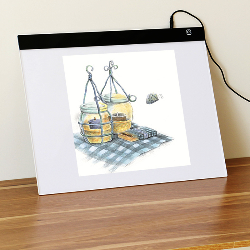A3 LED Artist Stencil Board Tattoo Drawing Tracing Table Display Light Box Pad with Base for Artists,Drawing, Sketching (DC)