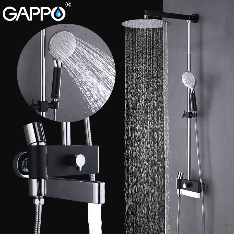 GAPPO sanitary ware Suite luxury bathroom showers chrome polished and black shower faucets wall mounted rain shower head set