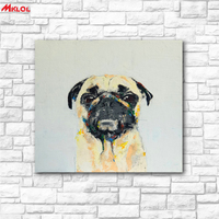 Frameless Cute Pug Oil Painting Wall Art Picture Paiting Canvas Paints Home Decor Abstract Print Painting