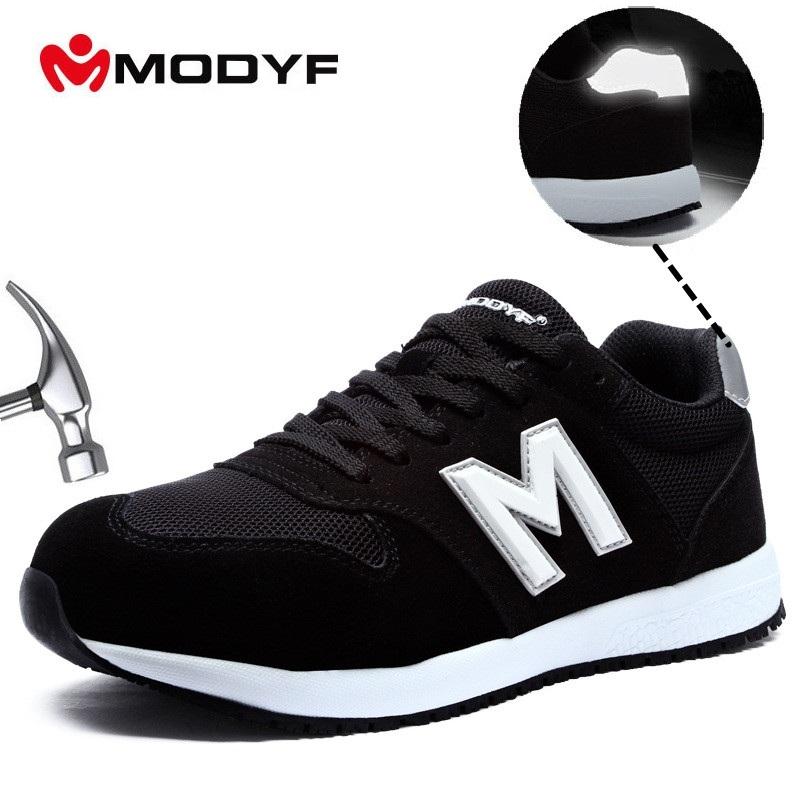 MODYF Men's Black Work Safety Shoes Steel Toe For Men Anti-smashing Construction Shoes