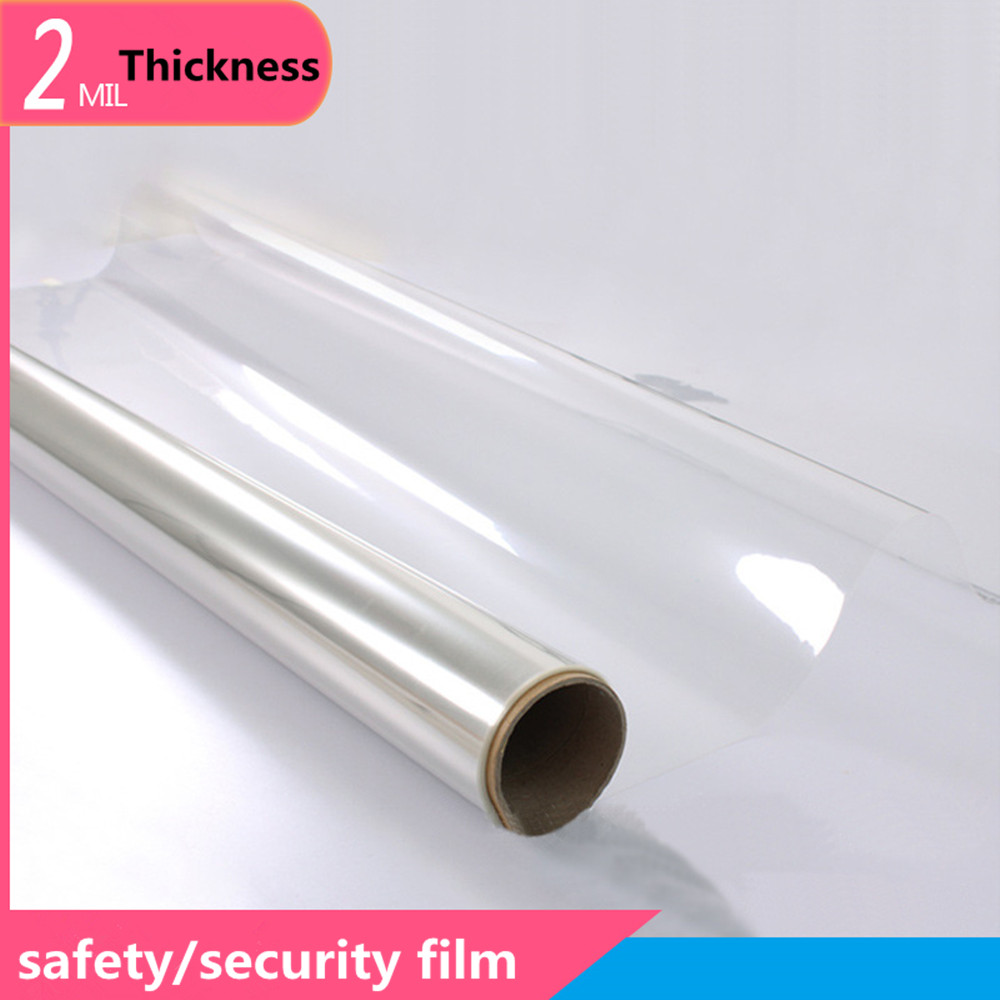 SUNICE Waterproof Window Film 50cmx200cm Safety Film Clear Transparent Security Window Foils Anti-shatter Protection Car Home
