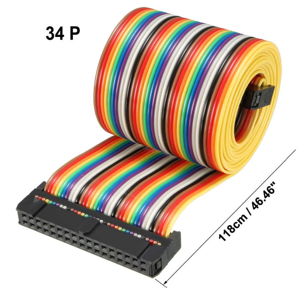 Uxcell IDC 34 Pins Rainbow/สีเทา 43/48/66/118 ซม. ความยาว 2.54 มม. แบนยืดหยุ่นริบบิ้นจัมเปอร์สายหัวต่อ 1 pcs