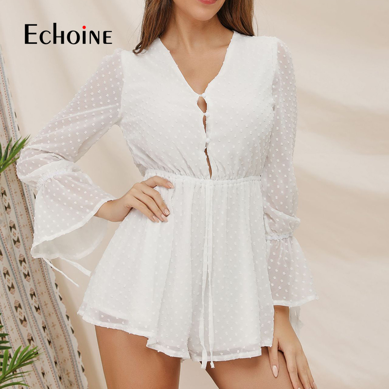Sexy Elegant Chiffon Solid Jumpsuit Romper Women Flare Sleeve Short Jumpsuit High Waist Playsuit Bohemian Summer Beach Overalls