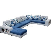 High Quality Living Room Sofa Set Home Furniture Modern Design Cotton Fabric Solid Wood Frame Soft Sponge U Shape Home Furniture