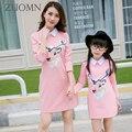 Coreia do Estilo Vestidos de Mãe e Filha Família Moda Olhar Roupas Combinando Roupas de Algodão Mãe E Filha Meninas Do Bebê Vestir GH205