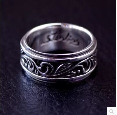 Beautiful boys section vintage arabesque patterns 925 sterling silver ring