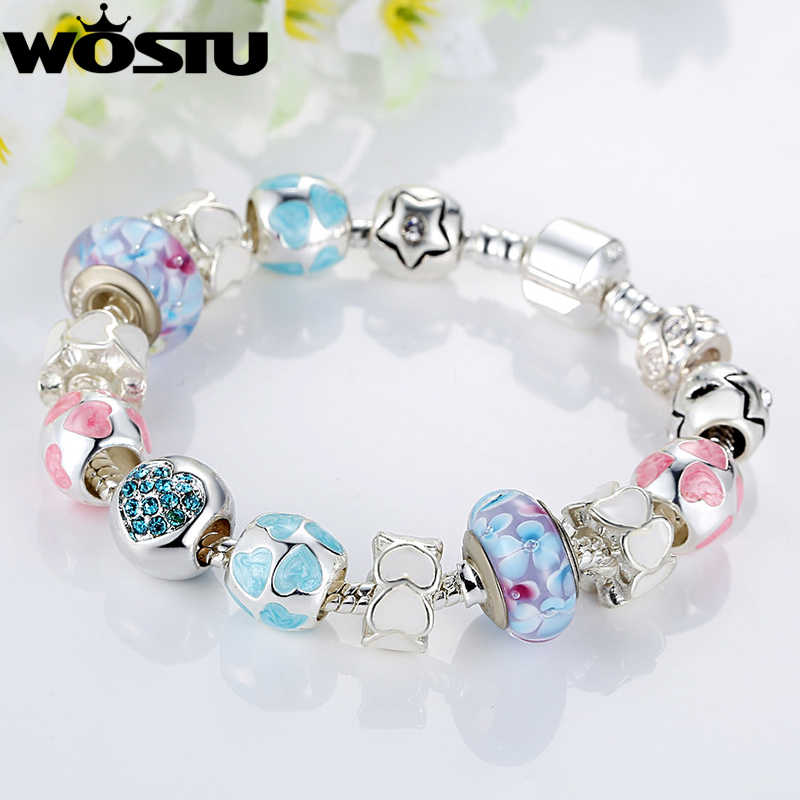 WOSTU European Style Romantic Silver 925 Heart Murano Beads Charm Bracelet for Women Original Bracelets Brand DIY Jewelry Gift