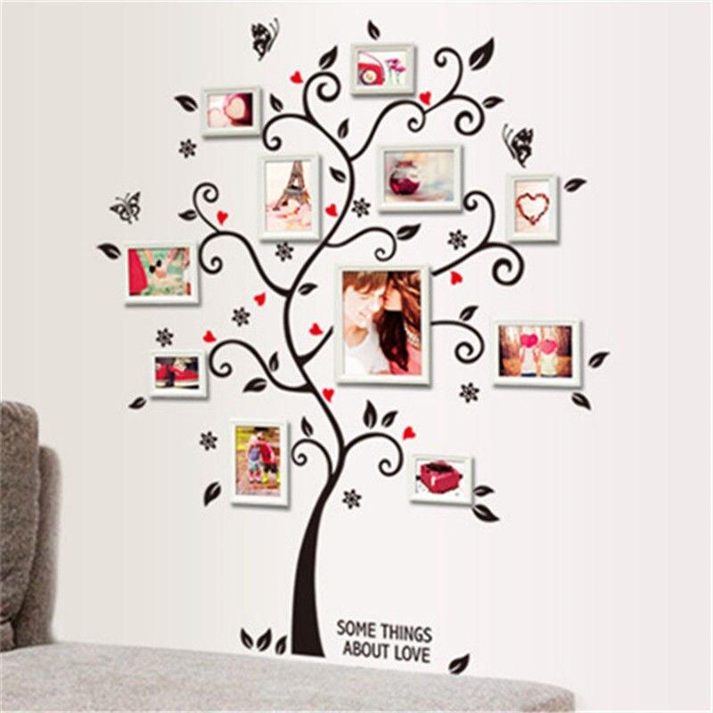 Familia negro árbol pared sticker Decal vinilo grande foto Marcos ...