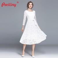 Peritiny White Lace Dress Women Casual Slash Neck Autumn Winter vestido branco Knee Length Elegant Black Party Dresses with Belt