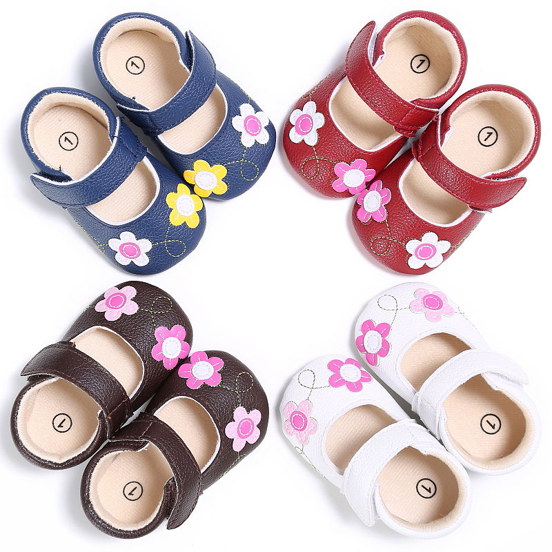 Baby Girls Flower First Walkers Toddler Baby Soft Sole Sneakers Non-Slip Party Shoes