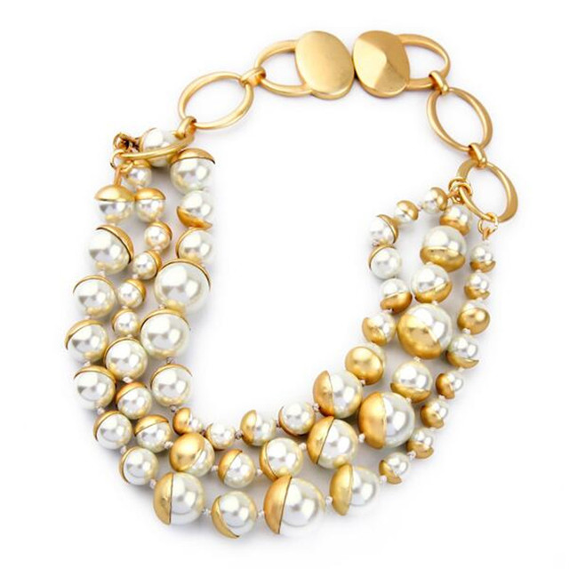 Luxury New Chic Hyperbole Gold Color Copper Pearl Maxi Bib Collar Necklace For Women Charm Jewelry Factory Wholesale