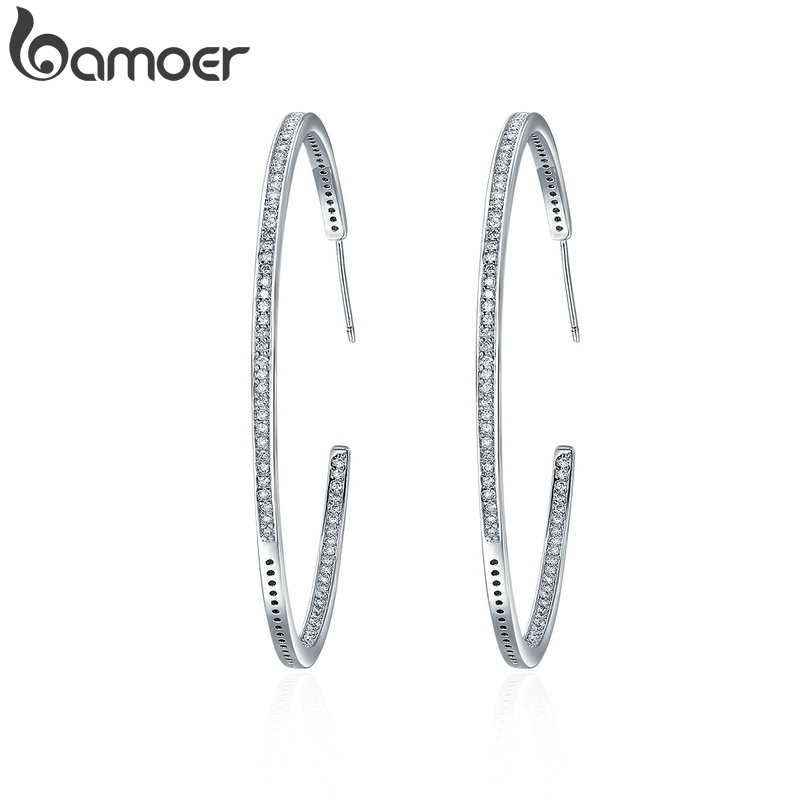 BAMOER New Collection Silver Color Luminous Clear CZ Circle Hoop Earrings for Women Fashion Earrings Jewelry Gift YIE115