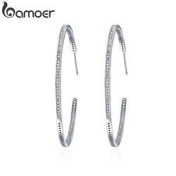 BAMOER Новая коллекция серебряный цвет светящийся прозрачный Круглый фианит серьги-кольца для женщин модные серьги ювелирные изделия подарок...