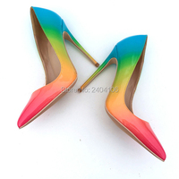 Shooegle Design Mixed Colors Patent Leather Rainbow Shoes Women Office Party Footwear Pointed Toe Fashion Stiletto High Heels