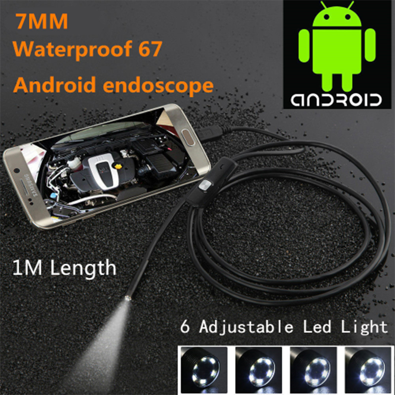 Black 6LED 1M 7mm Lens USB Endoscope Camera HD Waterproof pipe inspection Borescope for Android PC Phone & Notebook Device gakaki 7mm lens usb endoscope borescope android camera 2m waterproof inspection snake tube for android phone borescope camera