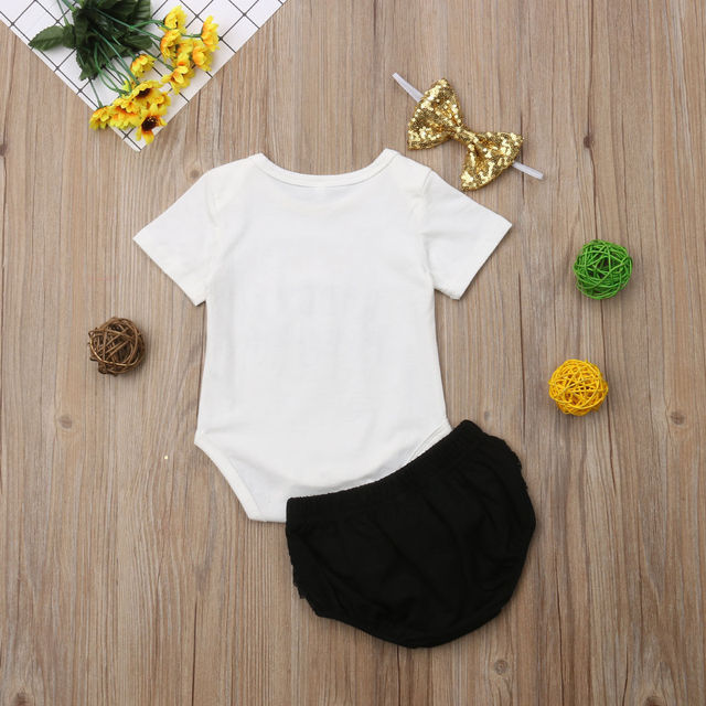 3PCS Cute Newborn Baby Girl Outfits Clothes Tops Bodysuit Shorts Pants Set 3