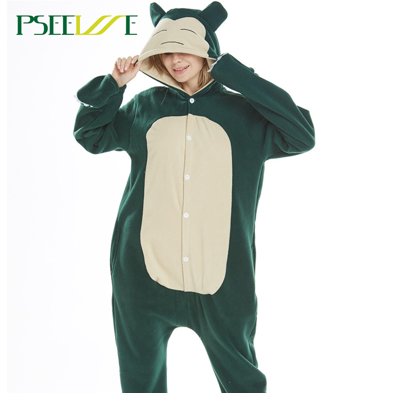2019 NEW Winter Animal Pajamas Snorlax Polar Fleece Sleepwear Sets Women Men Unisex Adult Nightie Onesie Cosplay Pijama
