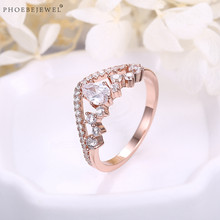 PHOEBEJEWEL Rose Gold Color Crown Queen Ring with White Cubic Zirconia For Women Fashion Wedding Jewelry Gift(China)