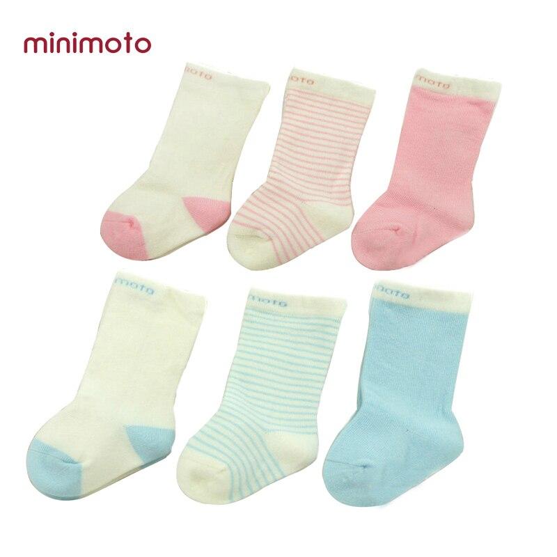 Minimoto 3 пар/упак. для новорожденных Симпатичные мягкие гольфы малышей Прекрасный полосатые носки детские Нескользящие хлопковые носки для 0-6...