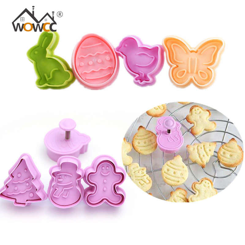 4pcs Cookie Stamp Biscuit Mold Snowman Cookie Plunger Cutter Easter Rabbit Egg Biscuit Mold Christmas Cookie Cutters Baking Mold