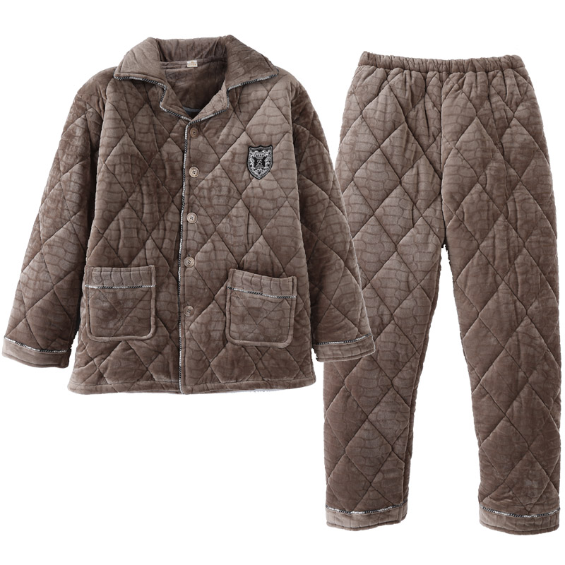 Men Pajama Set Pyjamas Suits Winter Three-layer Quilted Thick Coral Fleece Warm Sleepwear Night Suit Men Nightwear Loungewear