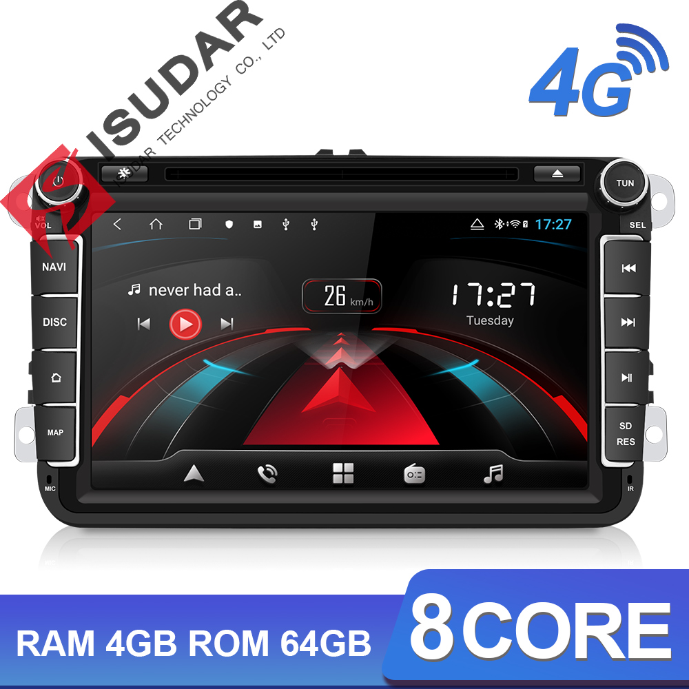 Isudar H53 2 Din 4G Android Multimídia Rádio Do Carro Para VW/Volkswagen/POLO/Golf/Skoda /Seat/Leon/PASSAT B6 Auto GPS Câmera DVR USB
