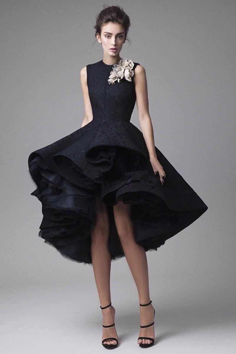 Black dress under knee - Black 2017 A Line High Collar Short Front Long Back Flowers Lace Elegant Cocktail Dresses Homecoming Dresses Under 50