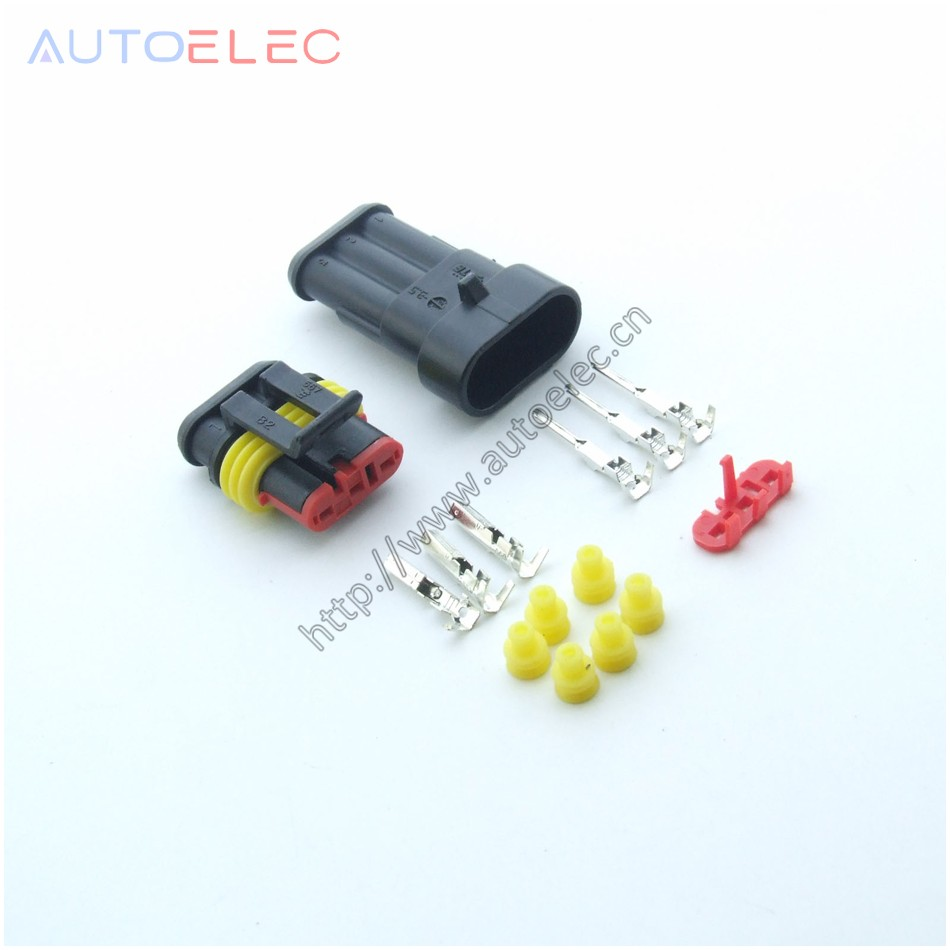 5Pair 3Way Pin male&female Sealed Automotive Waterproof Electrical Wire Connector Plug S ...
