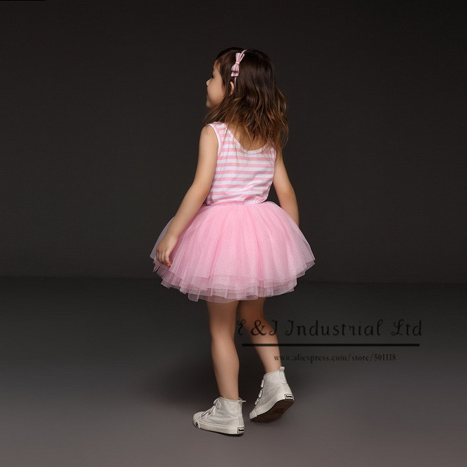 New 2016 Girls Petti Dresses Pink Striped Baby Princess Party Dress Childern Clothing Infant Wear Wholesale GD30105-14^^EI