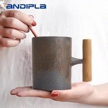 Винтажная керамическая грубая керамическая кружка с коррозийной глазурью, деревянная рукоятка, чайная чашка для кофе с молоком, деревянная ложка для воды, офиса, дома, посуда для напитков