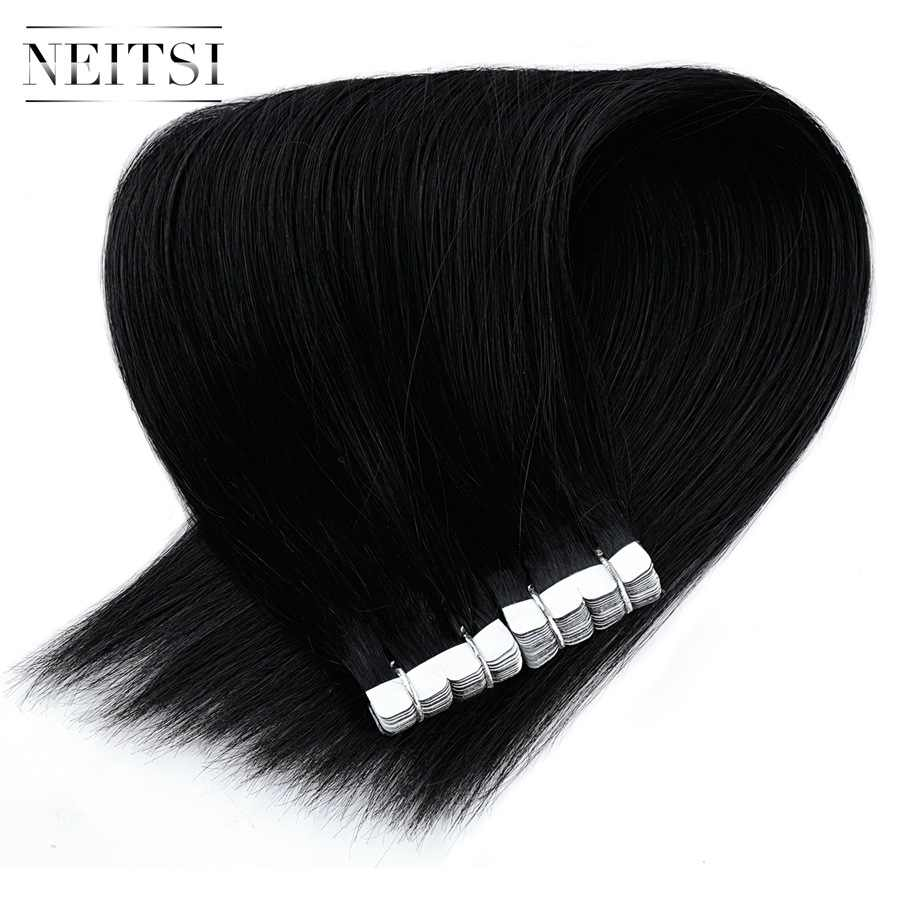"Neitsi Mini Tape In Human Hair Adhesive Extensions 12"" 16"" 20"" None Remy Double Sided Tape Straight Skin Weft Natural Hair"