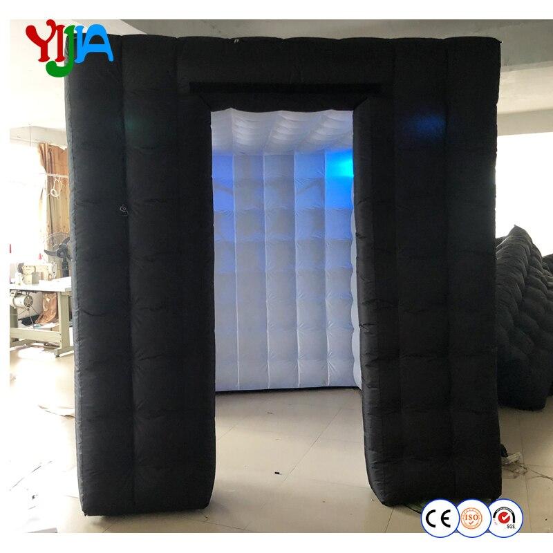 Портативный черный снаружи и внутри белый свет надувные воздушные cube photo booth палатка