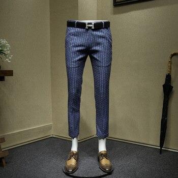 mens dress pants summer thin cropped pants legging fashion office pants men blue grey striped wedding wear slim fit