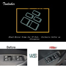Tonlinker Cover Case Stickers for VW Volkswagen Polo 2011-17 Car Styling 4 PCS stainless steel Windows lift button cover sticker