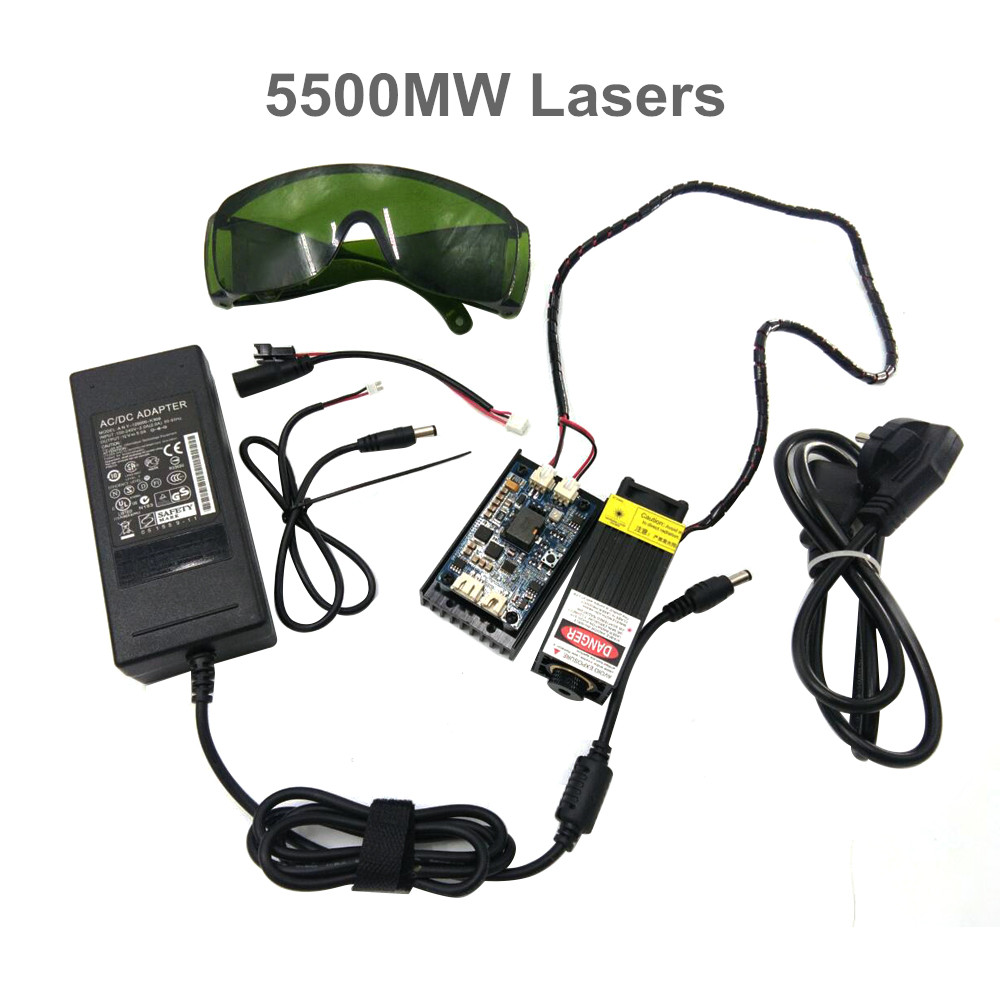 5.5 w 450nm bleu module laser, laser machine de gravure pièces, de découpe laser TTL module 5500 mw laser tube