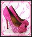 Aidocrystal 10 см высота Bling Bling Сверкающие peep toe высокий каблук насосы Фуксия кристалл Свадебная Обувь для женщин
