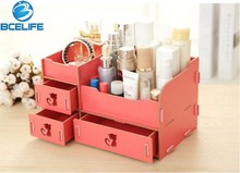 BCELIFE Multi-functional Wooden Makeup Storage Box Jewelry Container Organizer for Office desk stationery storage box makeup